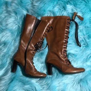 Shoes - Brown lace up / zipper boots size 6
